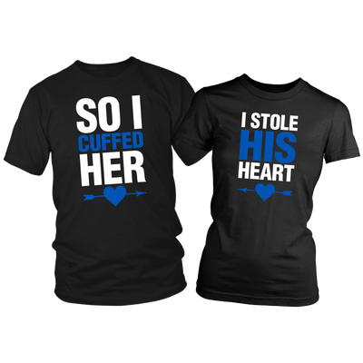 Heart and Cuffs Couples Shirts