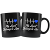 My Heart Belongs to Him / Her Blue Line Police Combo Couples Mugs
