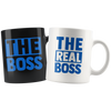 The Boss & The Real Boss Couples Combo Blue Line Mugs