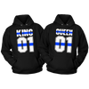 KING AND QUEEN BLUE LINE POLICE COMBO COUPLES HOODIE