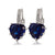 White Gold Plated Blue Sapphire Crystal Heart Earrings