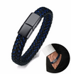 Thin Blue Line Faux Leather Men's Bracelet