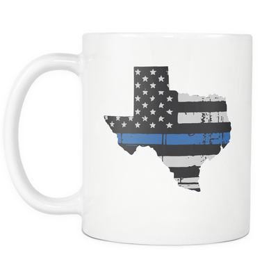 Texas Thin Blue Line American Flag - Mug