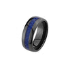 Blue Line Tungsten Carbide Police / Leo Ring 8mm Round Edge Comfort Fit Ring