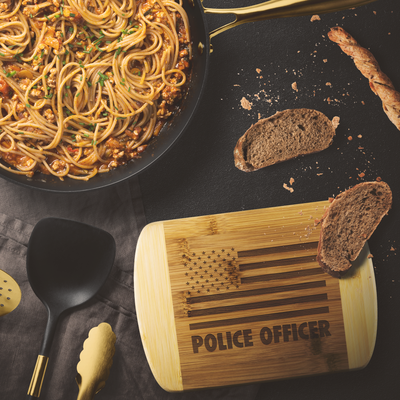 Police Officer Round Edge Chopping Board