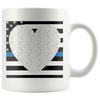 Thin Blue Line USA Heart Personalized Photo Frame Mug