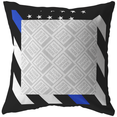 Thin Blue Line Flag Personalized Photo Frame Pillow