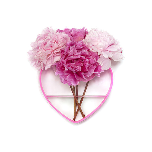 QUEEN OF HEARTS PEONY PINK/CLEAR HEART VASE
