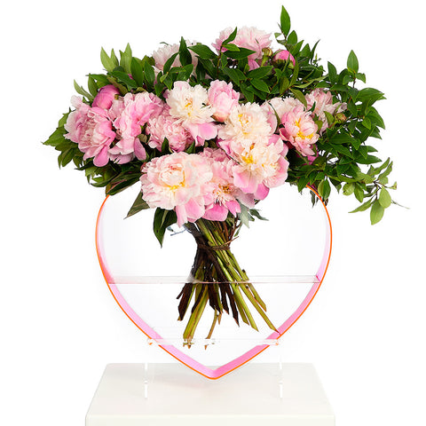 QUEEN OF HEARTS NEON PINK HEART VASE
