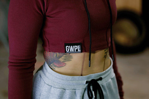Warm Up Crop Hoodie- Maroon