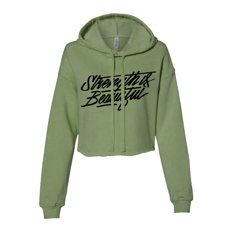 Strength is Beautiful Crop Hoodie- Military Green