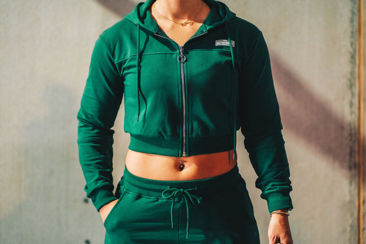 Warm Up Crop Hoodie- Green