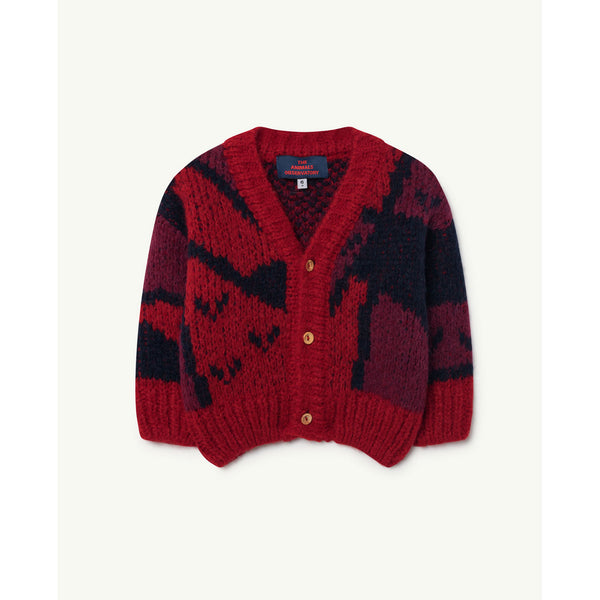 720aeac60d0f The Animals Observatory Red Apple Arty Peasant Babies Cardigan