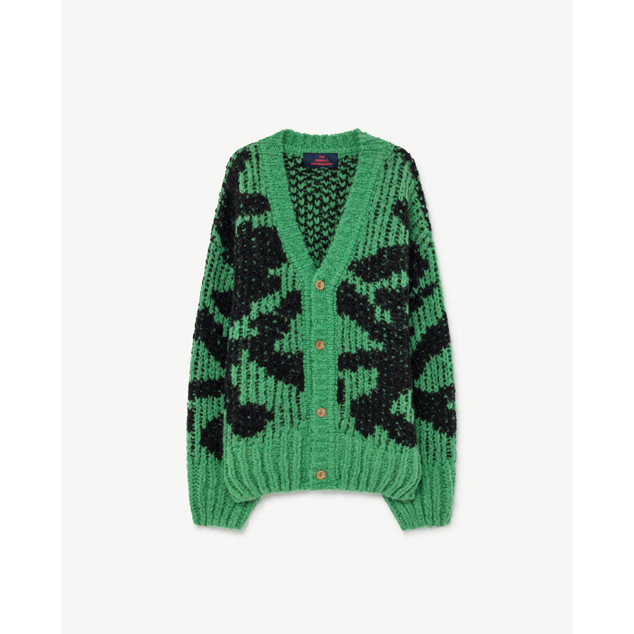 The Animals Observatory Green Arty Racoon Cardigan