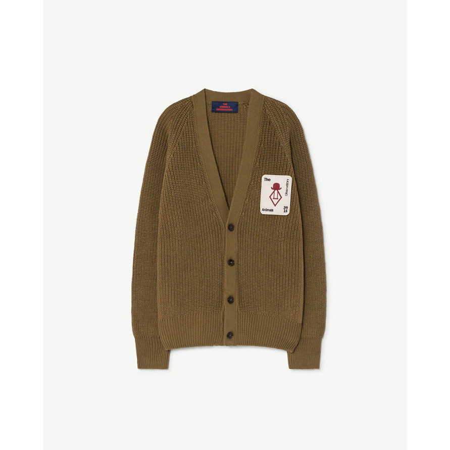 The Animals Observatory Military Green Plain Racoon Cardigan