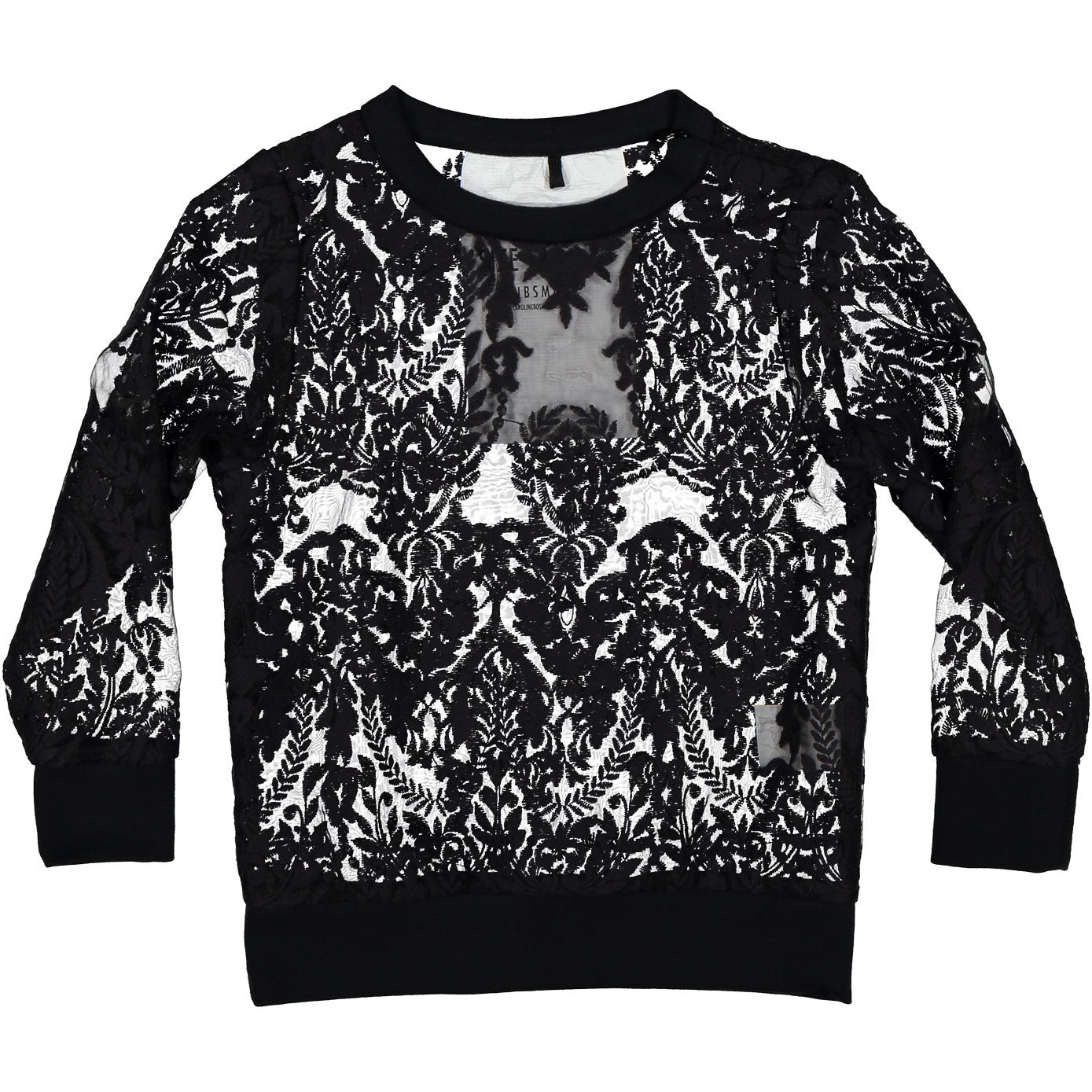 Caroline Bosmans Floral Organza Black Knitted Sweater - Ladida