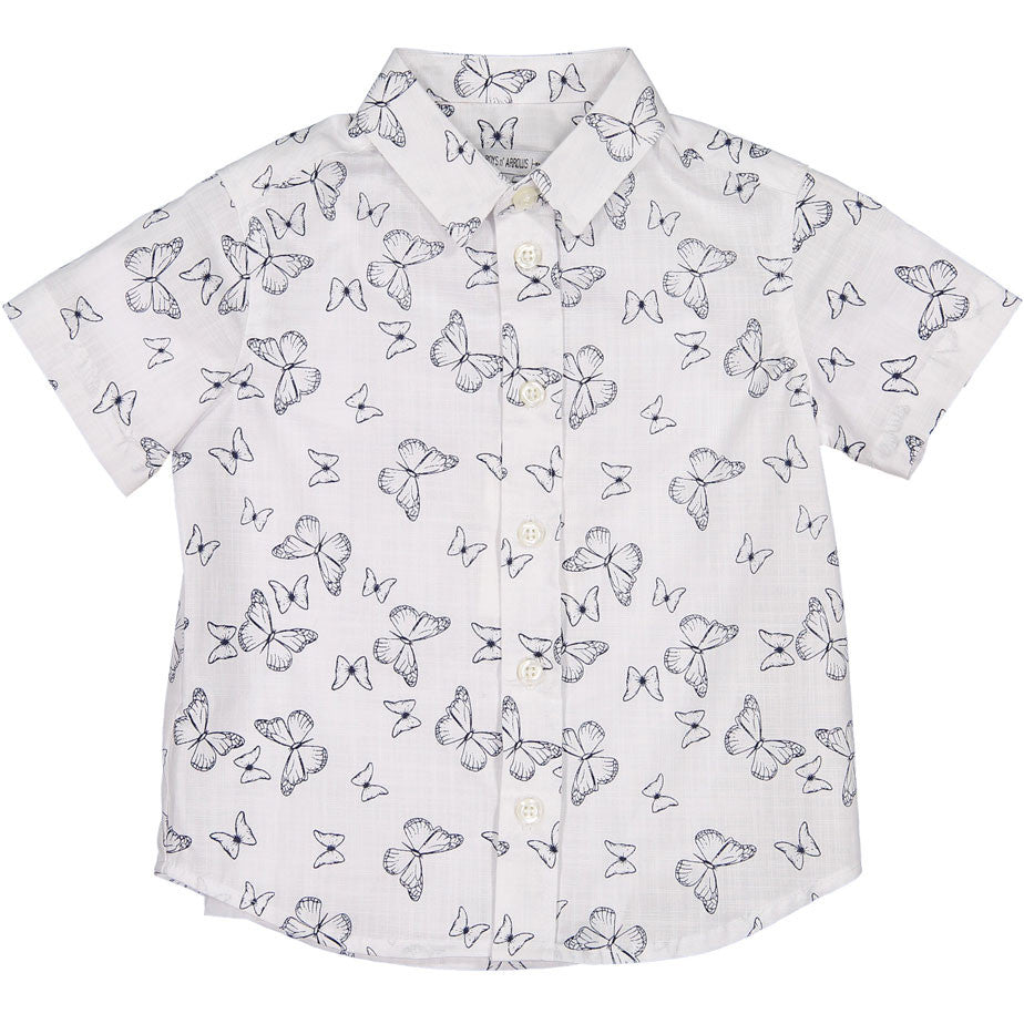 Boys & Arrows White Butterfly Print Shirt