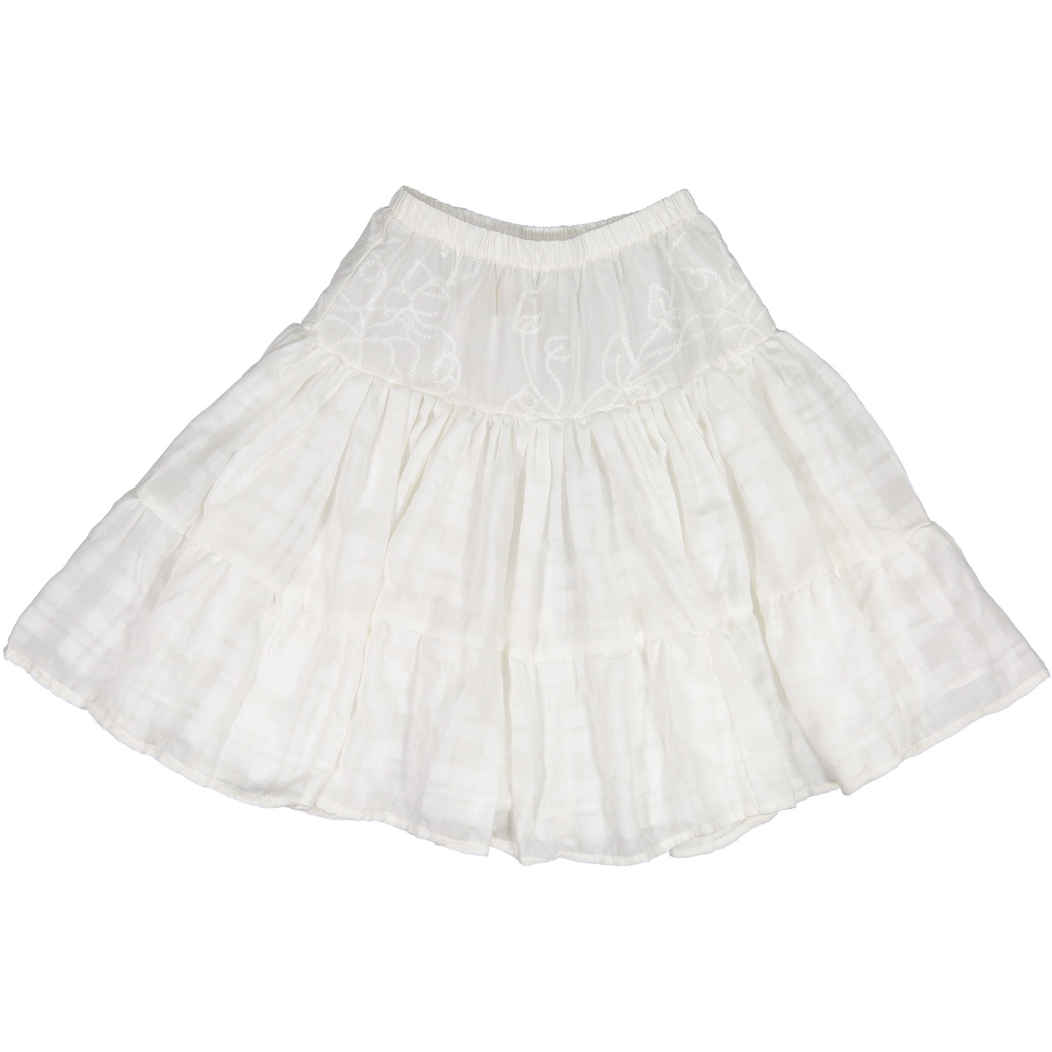 Atelier Barn White Tiered Embroidered Skirt - Ladida