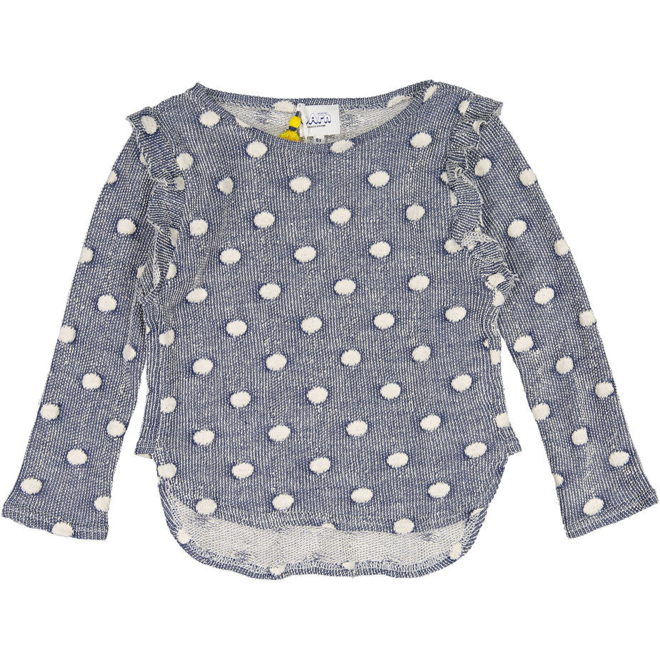 Atelier Barn Grey Dot Ruffle Sweater - Ladida
