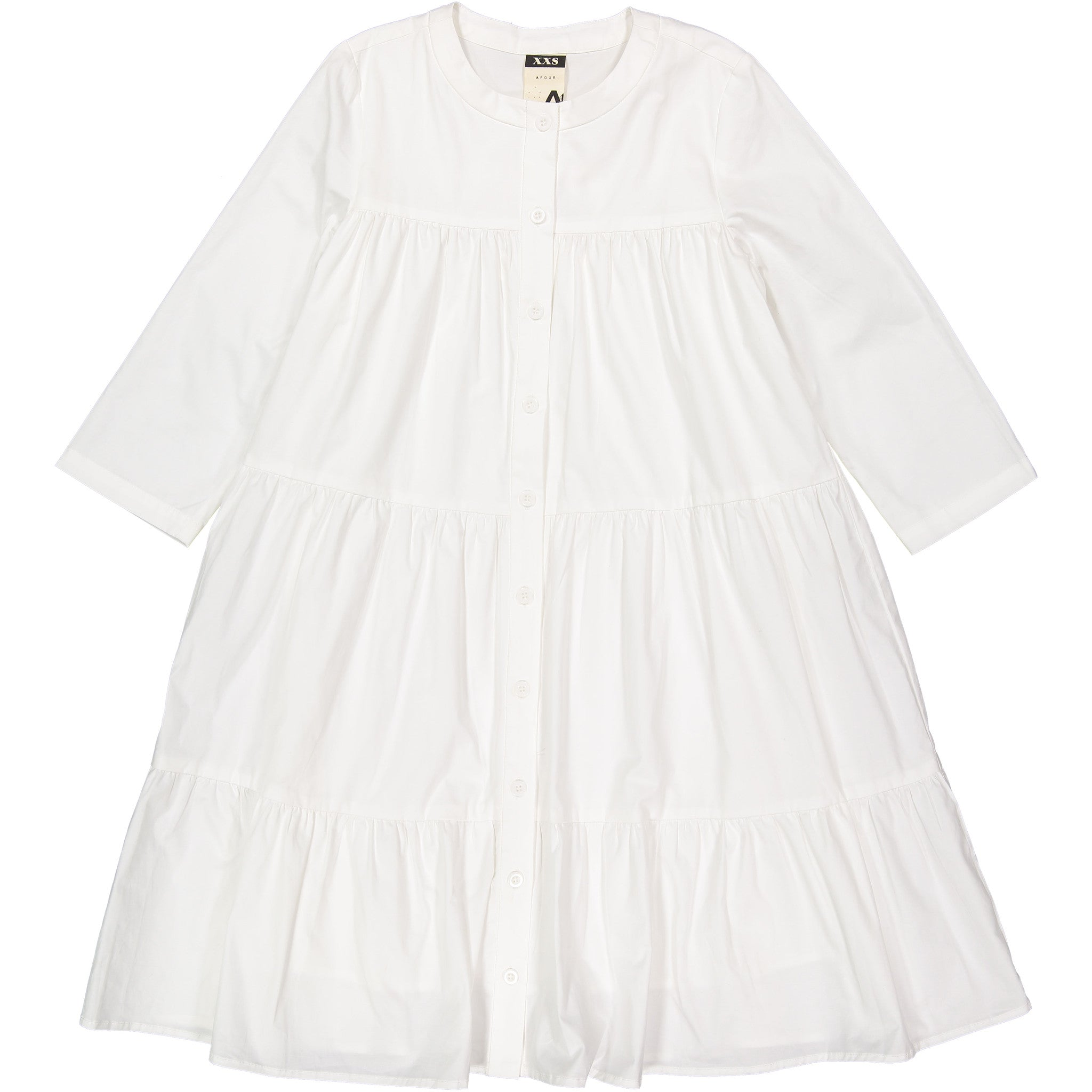 A4 White Tiered Long Sleeve Dress - Ladida