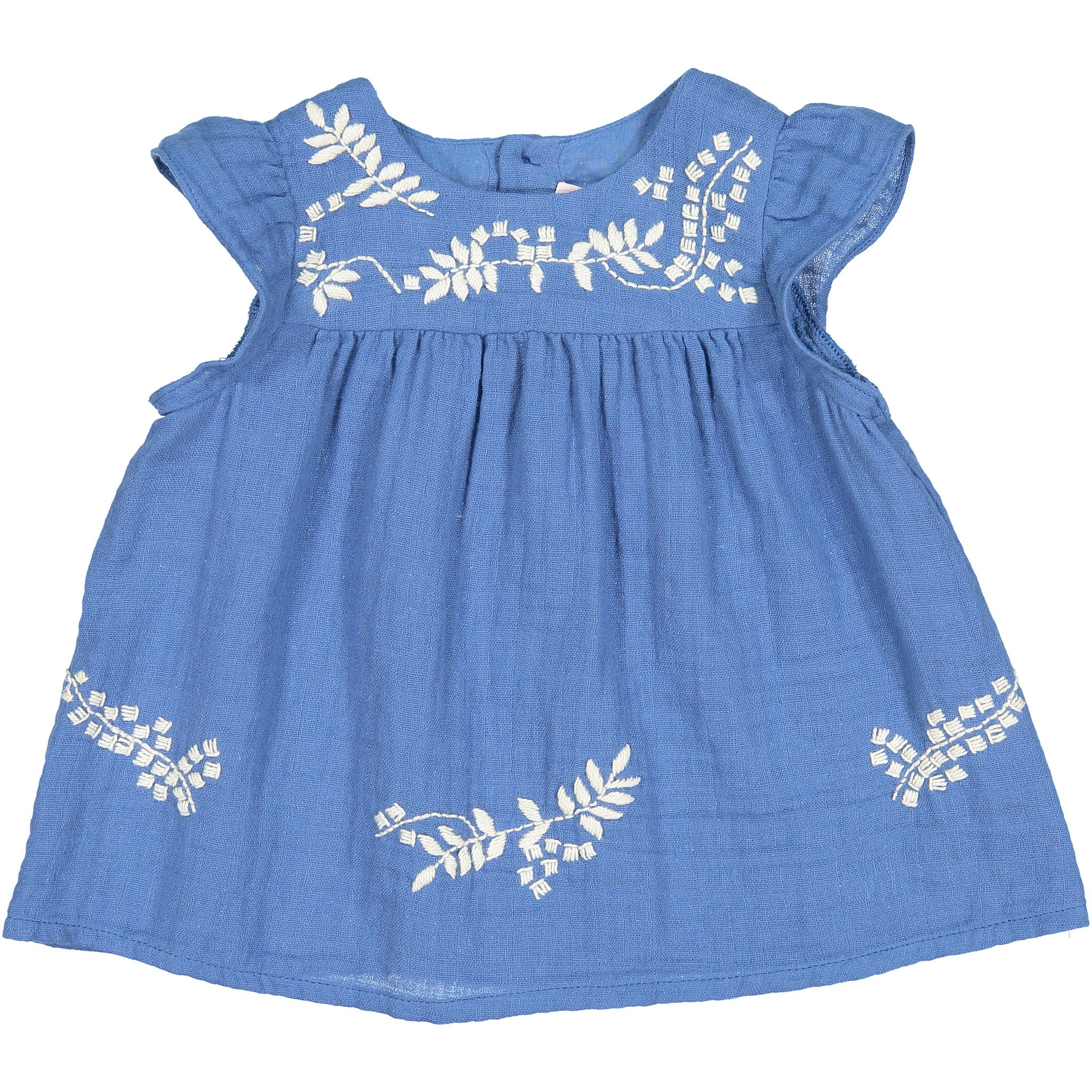Bonpoint Blue Embroidered Baby Blouse - Ladida