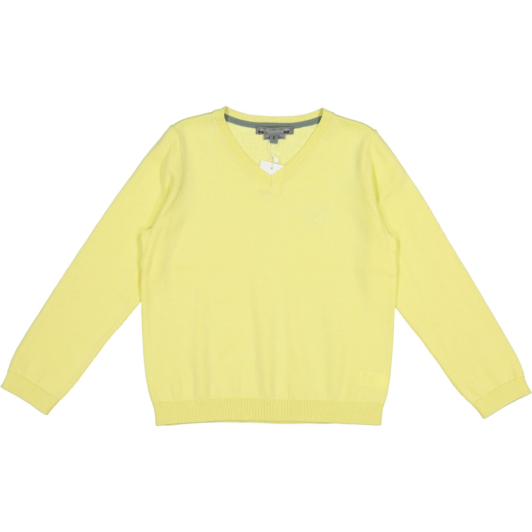 Bonpoint Yellow Classic V-neck Pullover - Ladida