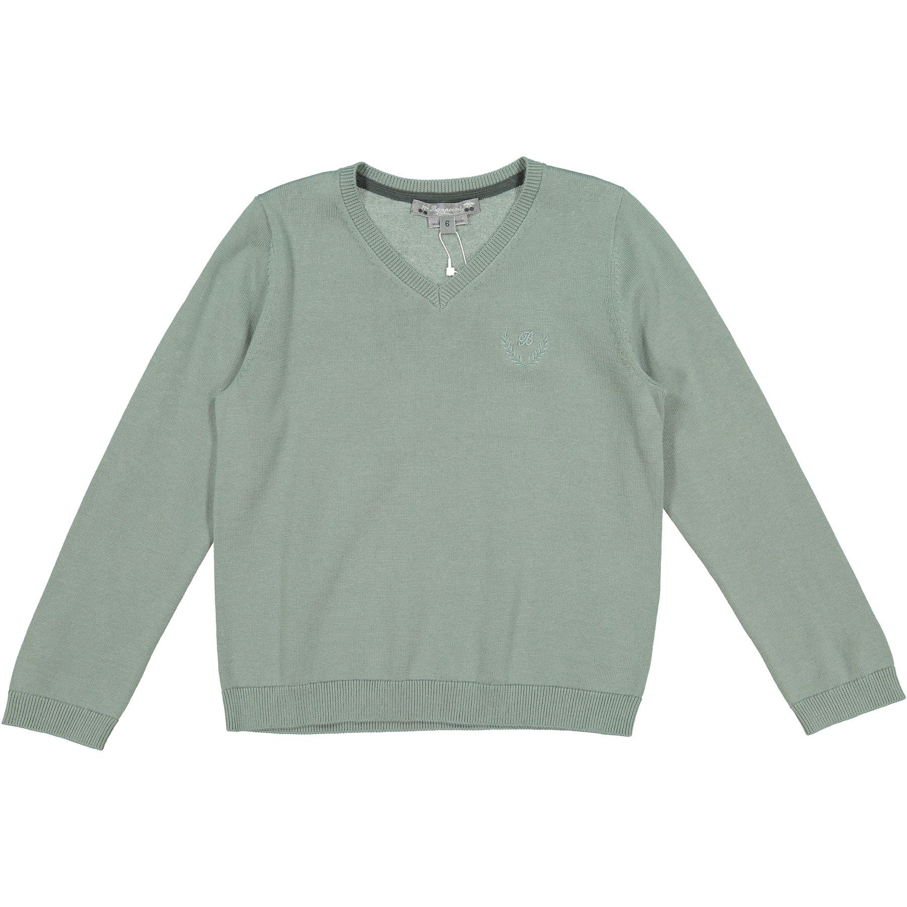 Bonpoint Grey Classic V-neck Pullover - Ladida