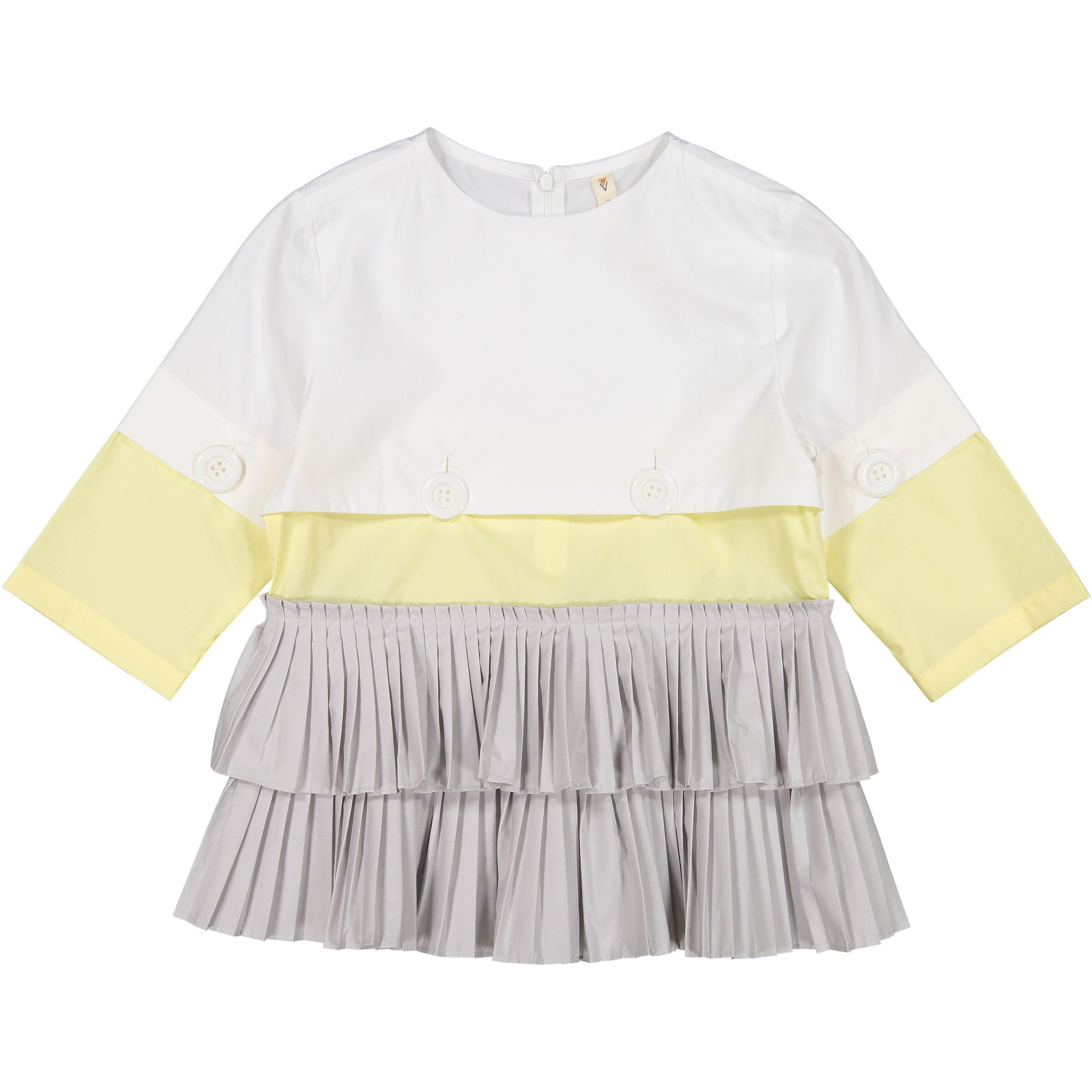 Ava & Lu Yellow Colorblock Pleated Top