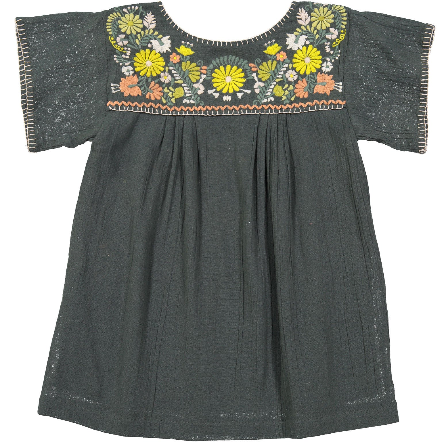 f3c1a99b963 Bonpoint Slate Embroidered YAM Smock Dress - Ladida