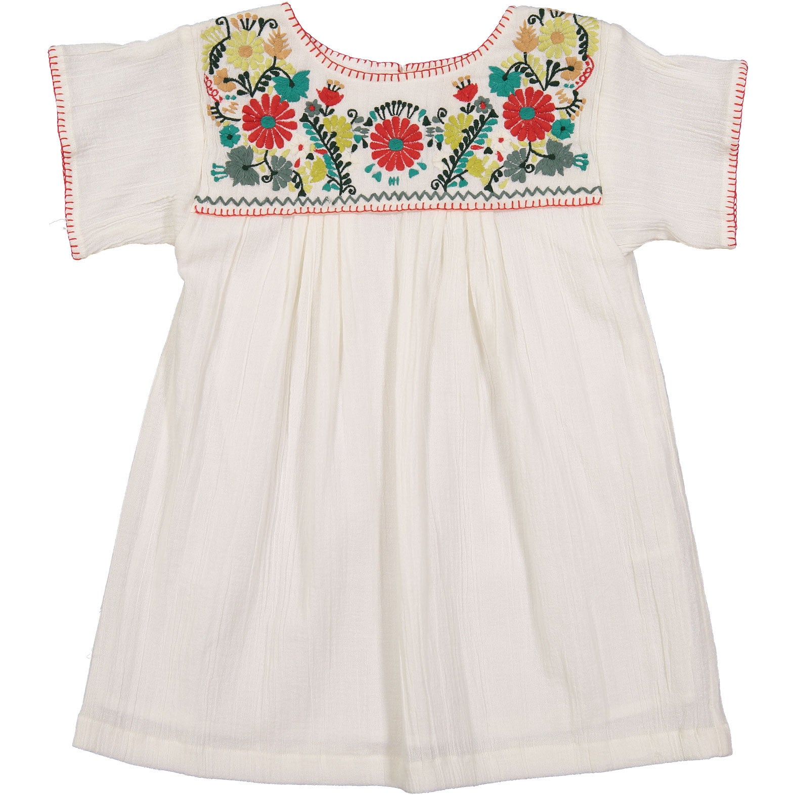 Bonpoint White Embroidered Smock Dress