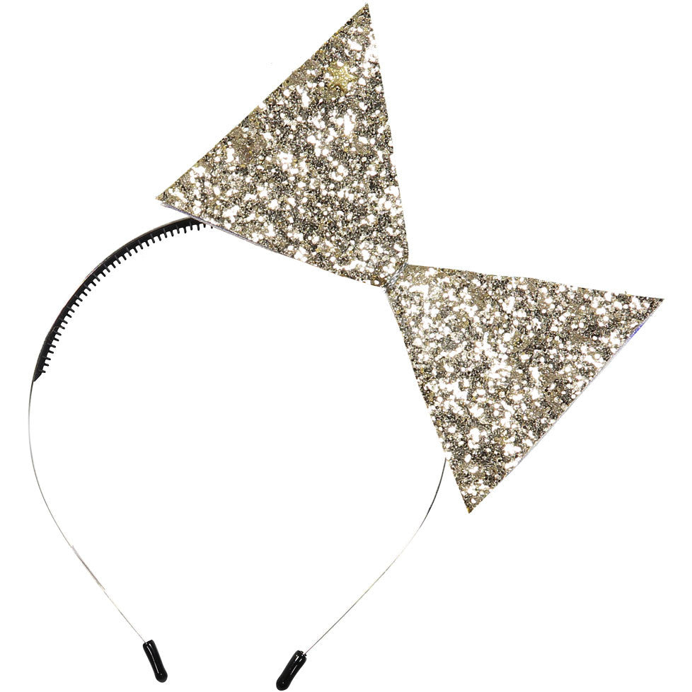 Sparkles Gold Sparkles Leather Bow Headband - Ladida