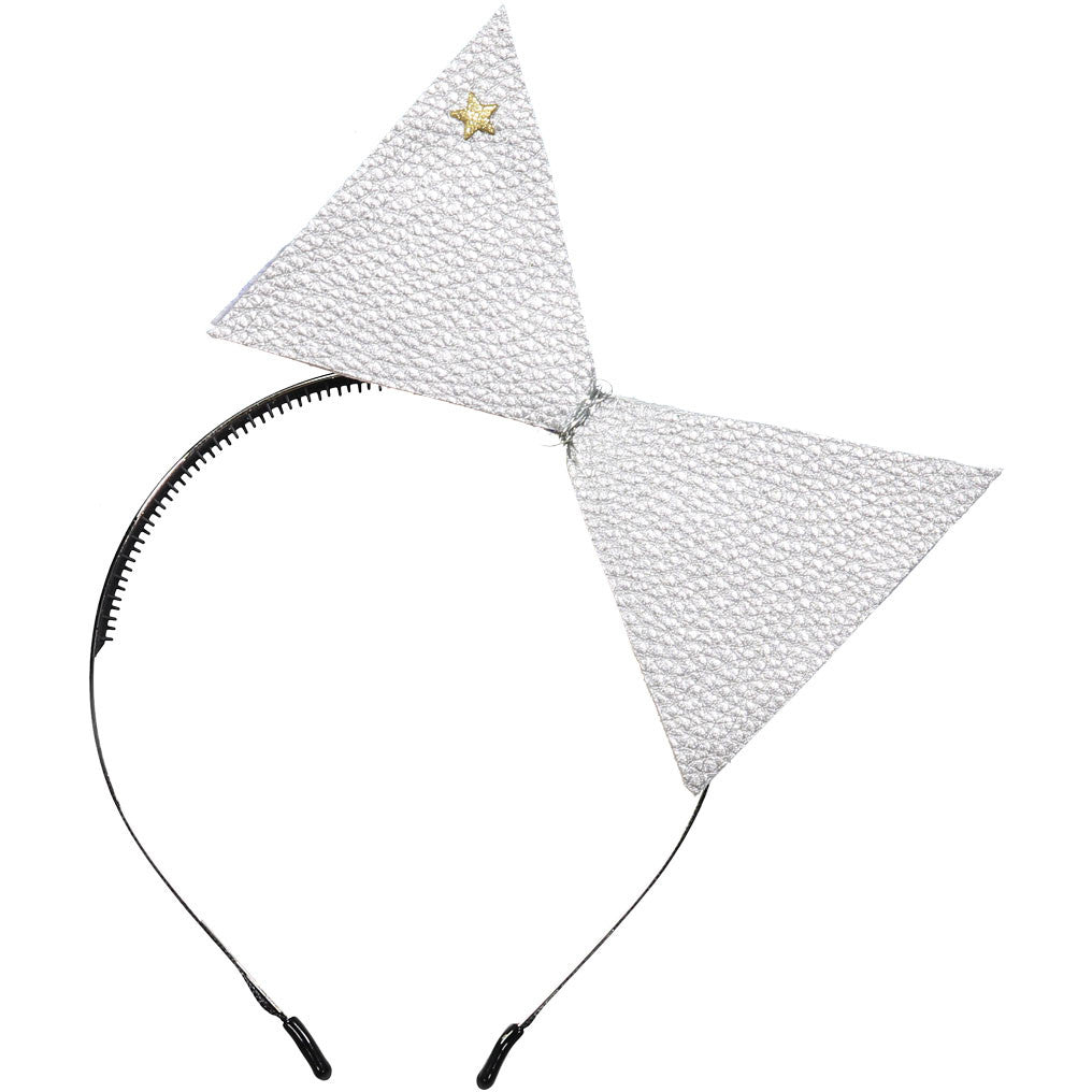 Sparkles Silver Leather Bow Headband - Ladida