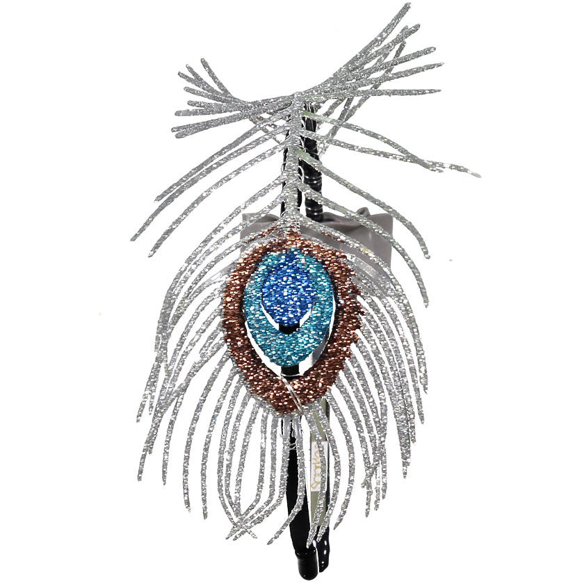 Sparkles Silver Peacock Feather Headband - Ladida