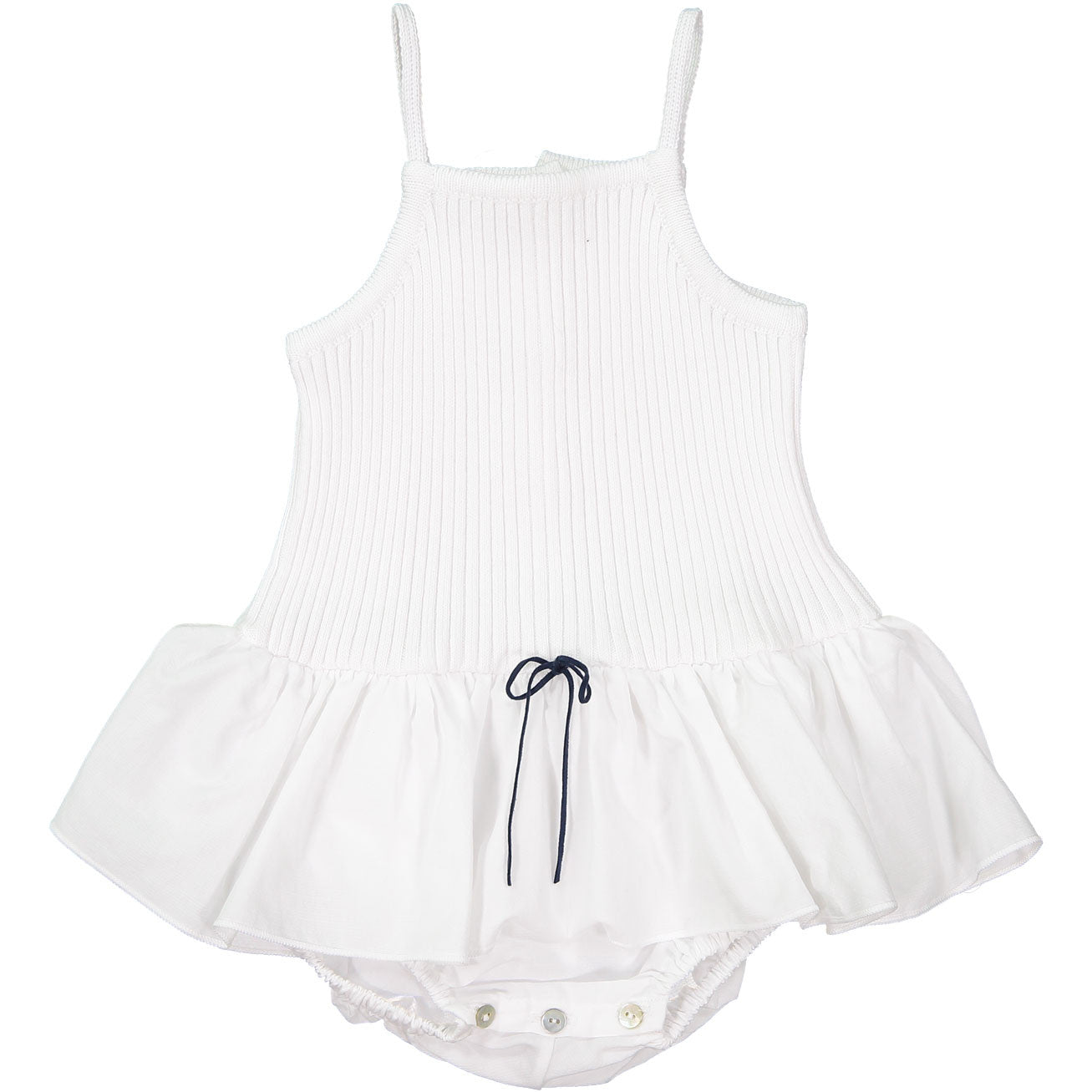 Pequeno Tocon White Ribbed Skirt Onesie - Ladida