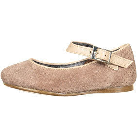 Papanatas Ostrich Pebbled Suede Buckle Mary Jane