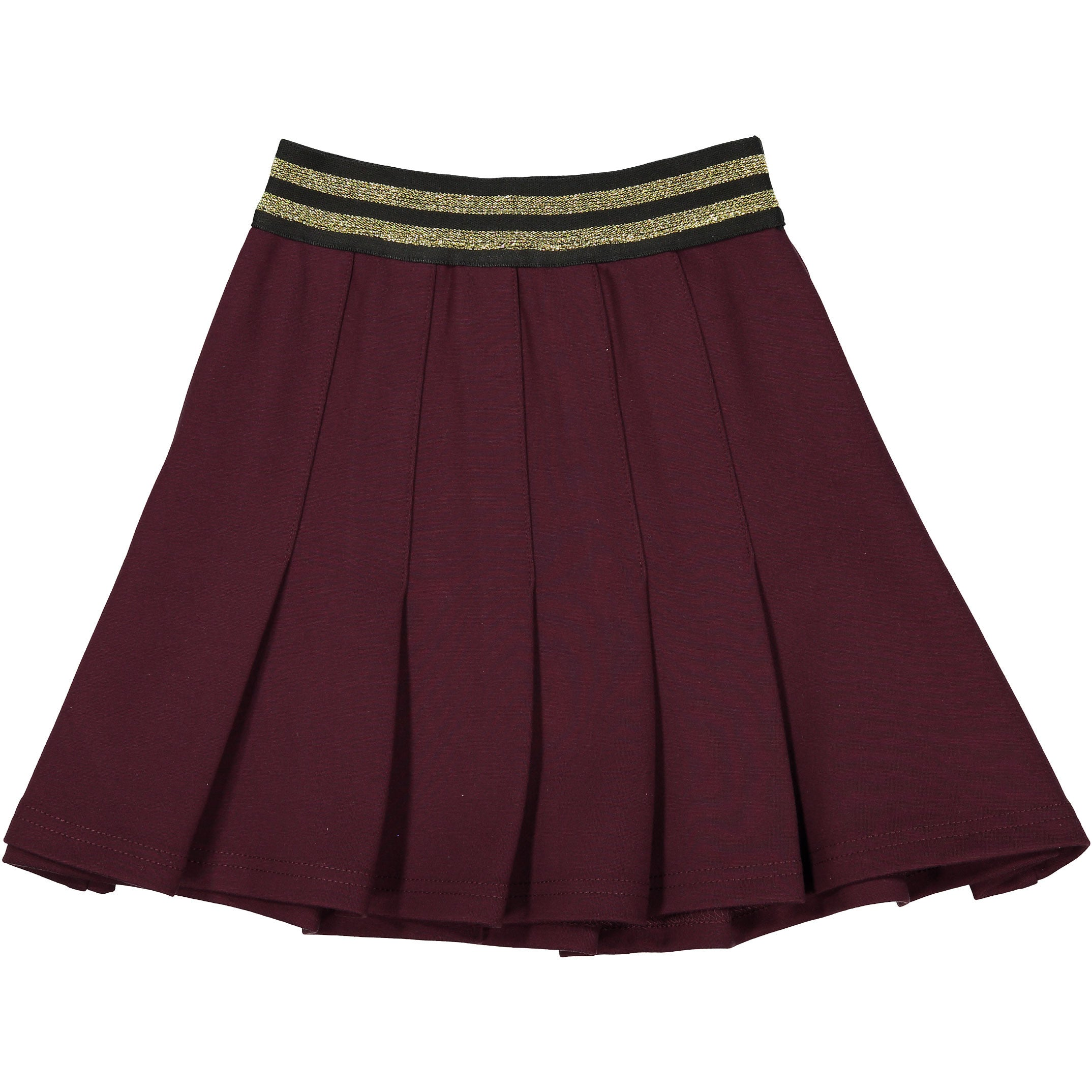 Ava & Lu Maroon Dropwaist Pleated Skirt - Ladida