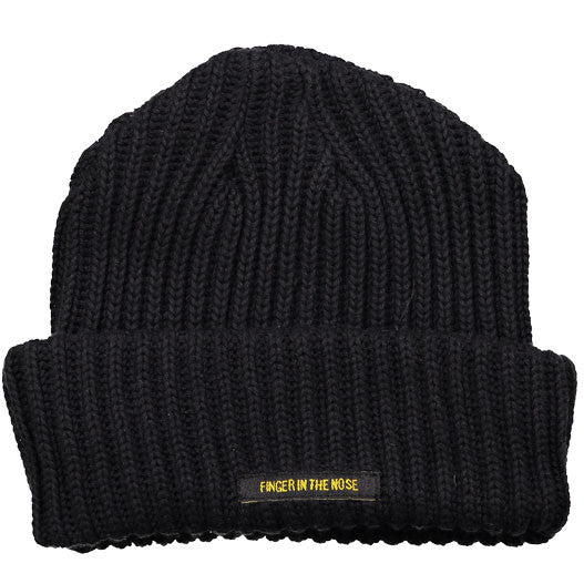 Finger in the Nose Black Knit Beanie - Ladida