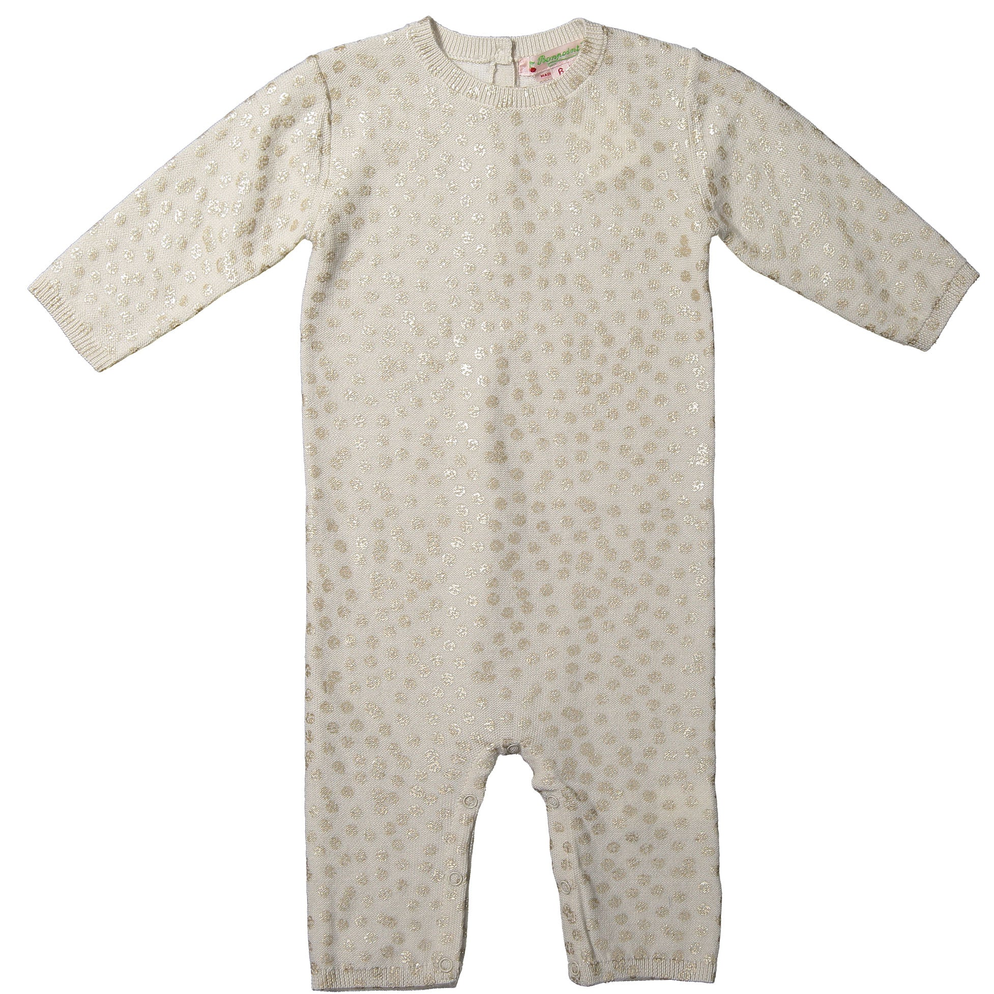 Bonpoint Gold Dot Baby Knit Romper