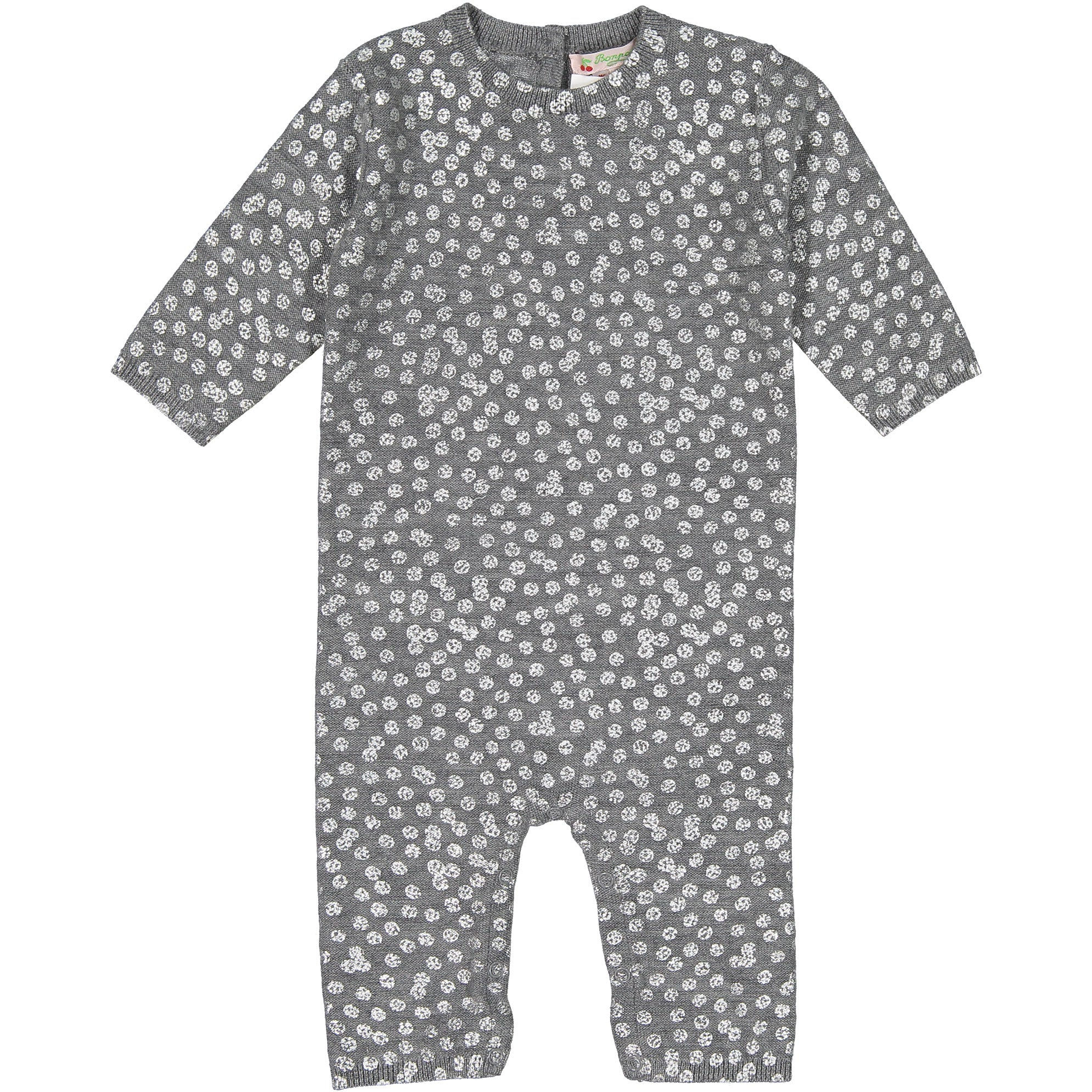 Bonpoint Silver Dot Baby Knit Romper