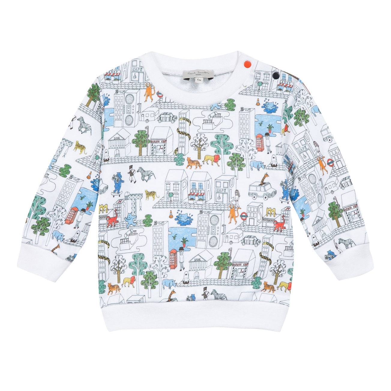 Paul Smith Junior White Town Playground Baby Sweatshirt - Ladida