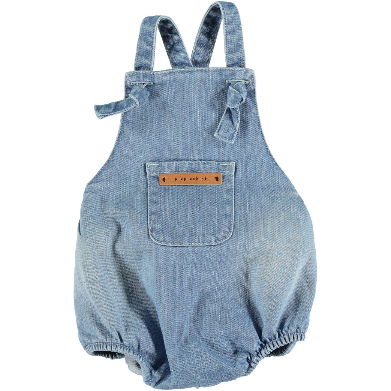 7e13fb11257 Piupiuchick Washed Jeans Romper with Knots