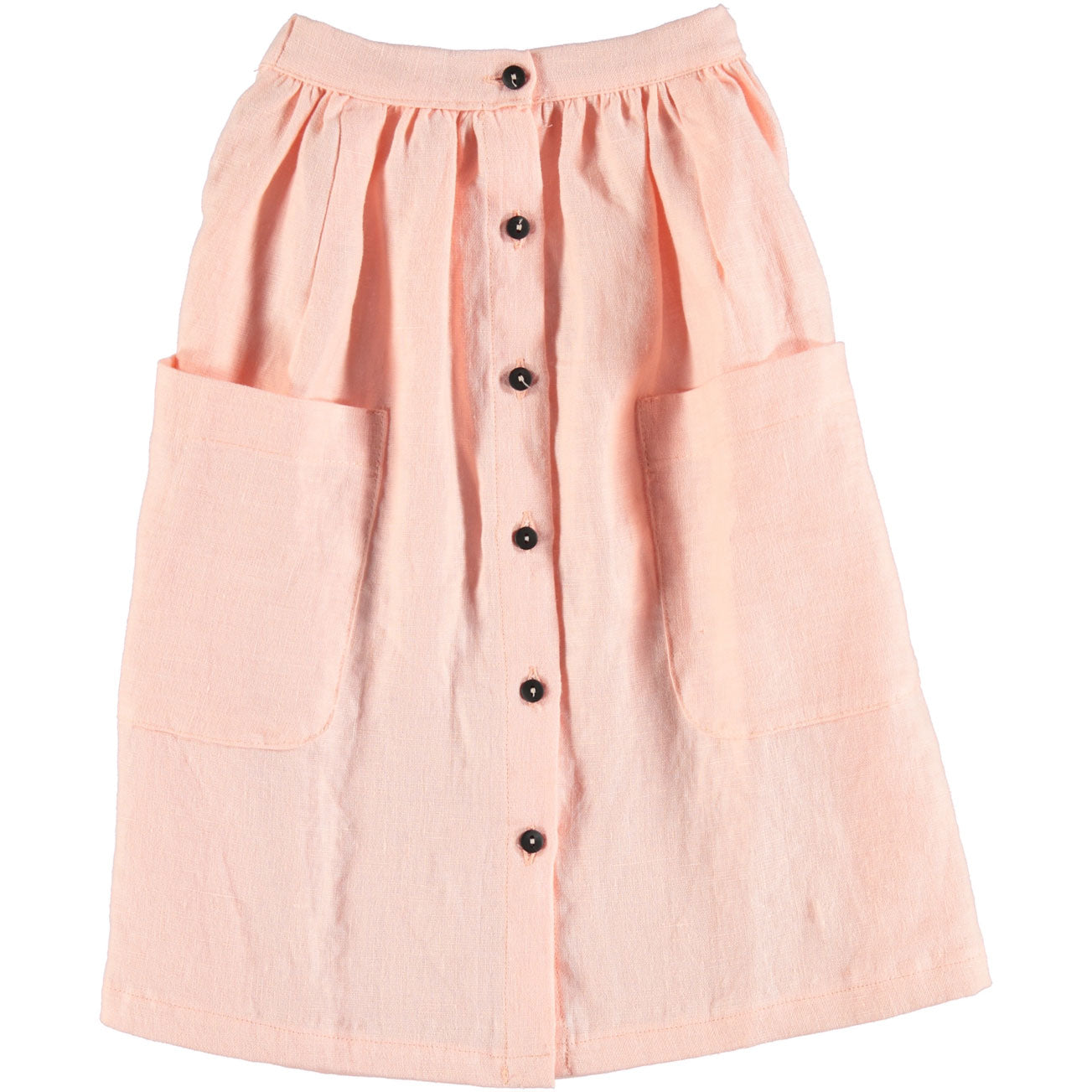Piupiuchick Salmon Linen Long Button Skirt
