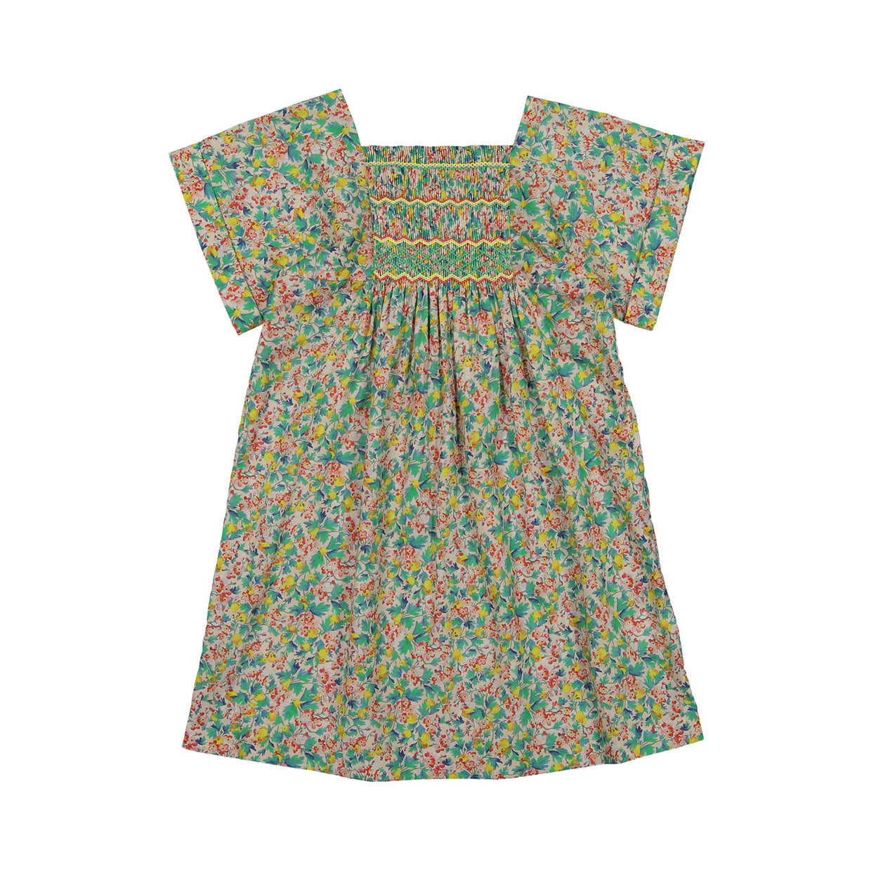 Bonpoint Lagoon Liberty Smocked Dress
