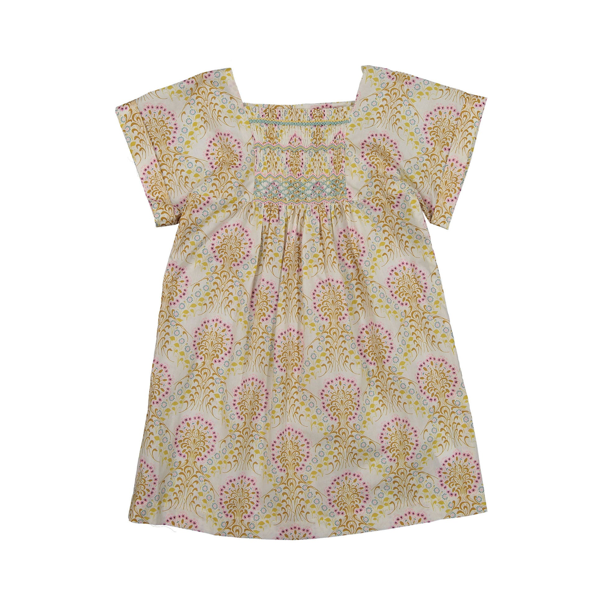 Bonpoint Ecru Floral Smocked Dress