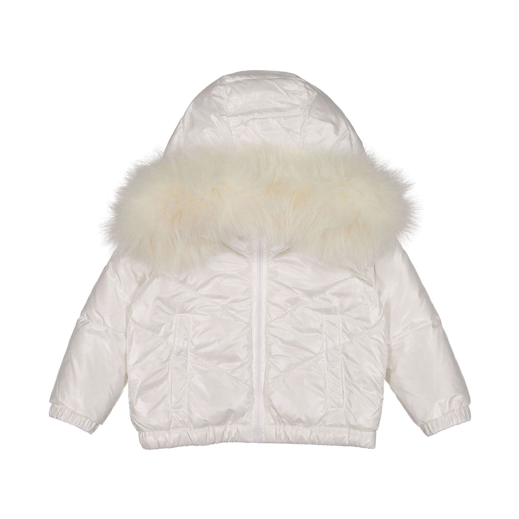 ADD White Fur-Hooded Down Baby Coat