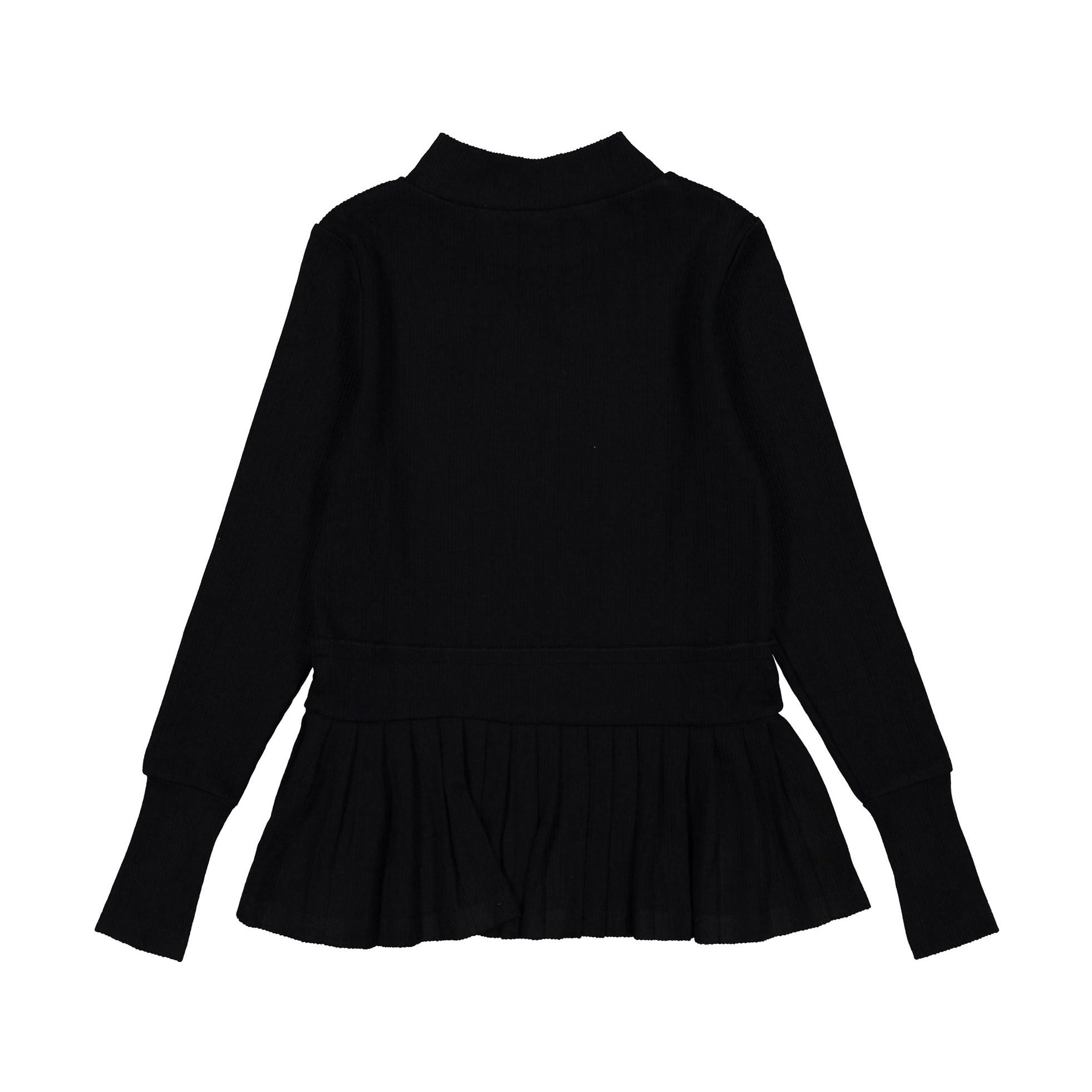 Ava and Lu Black Pleated Turtleneck Sweater
