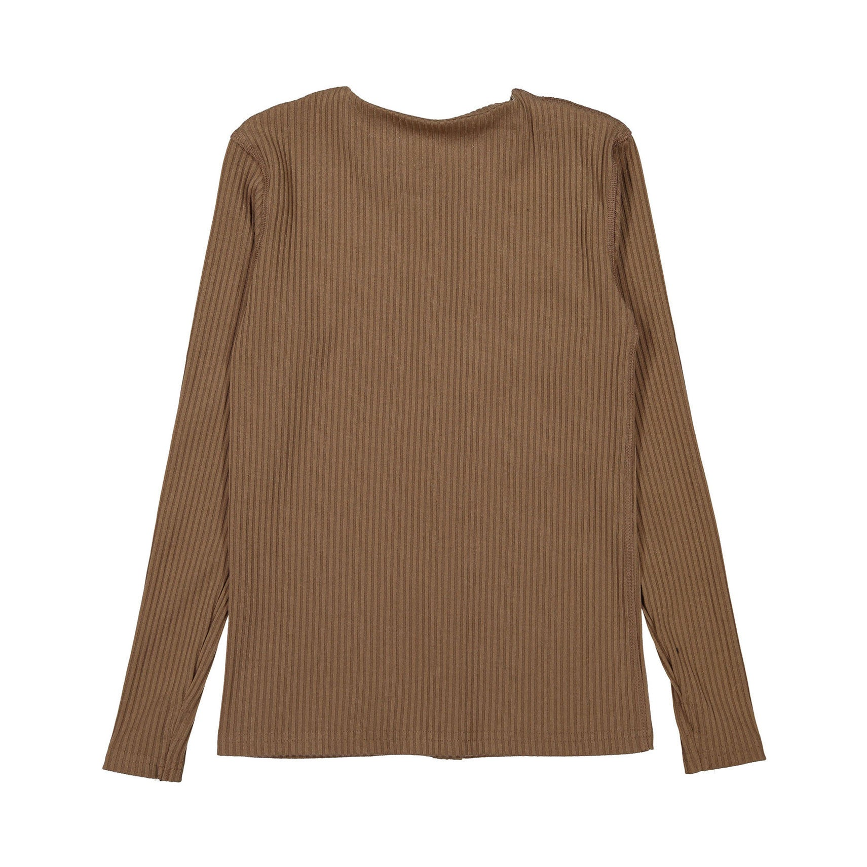 Ava and Lu Tan Ribbed Thin Button Cardigan