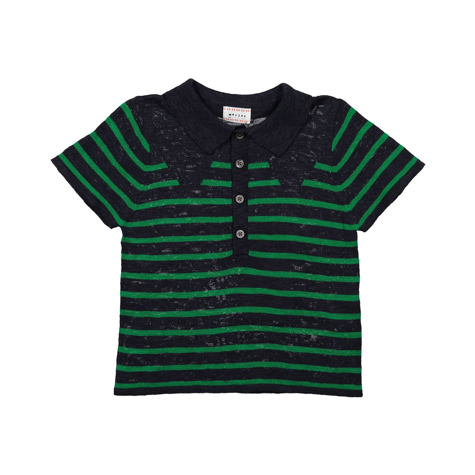 Morley Navy Stripe Lucius Knit Polo