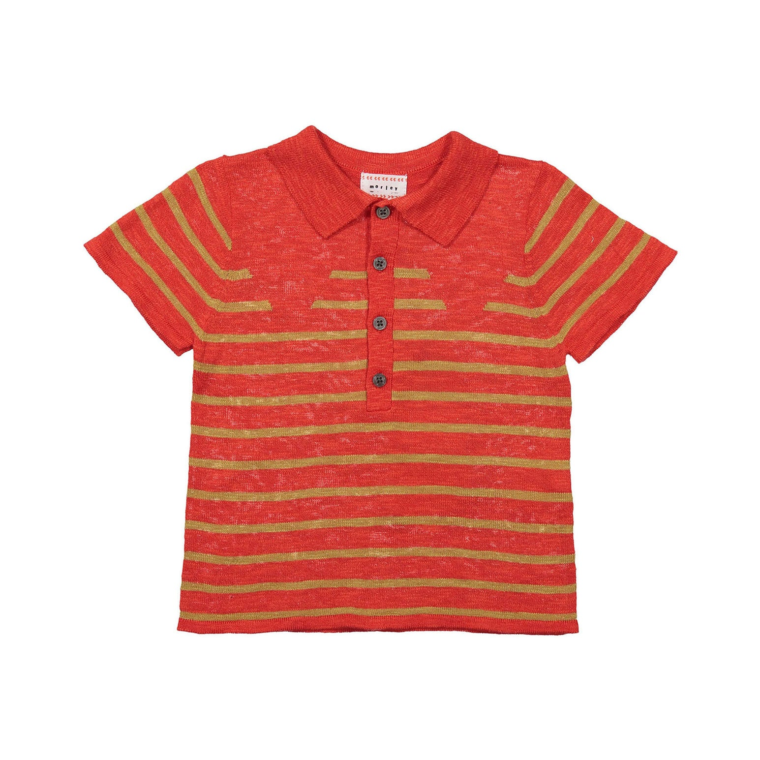 Morley Chili Stripe Lucius Knit Polo