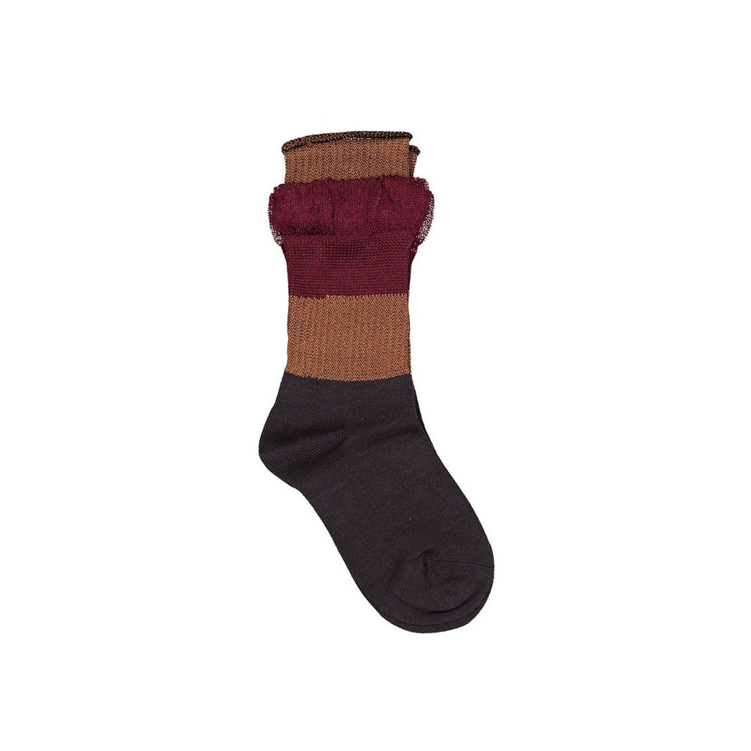 JNBY Burgundy Layered Ruffle Socks